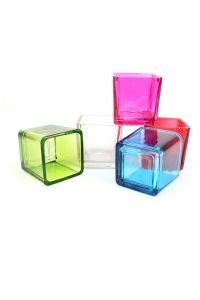 Square Glass Tealight Holders Coloured Glass Candle ...